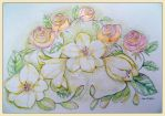 FREESIAS  AND ROSES by GeaAusten