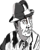 Bob Hoskins (Tribute drawing) Black and white by cobra10
