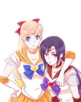 sailor venus and sailor mars by drchopper7