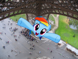 Rainbow Dash flying up the Eiffel Tower by laopokia