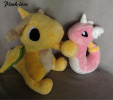 Dragonite and Dragonair Plush by Plush-Lore