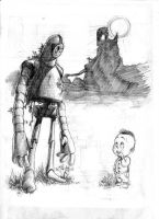 The robot and the child by Geebler-art