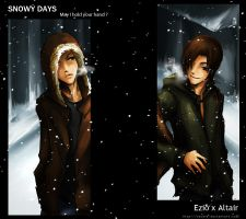 snowy day Ezio x Altair by resave