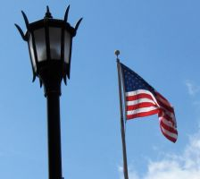 american flag and lamp post by DramaQueenB