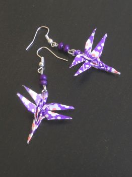 Purple dragonfly origami earrings by sakuralu83