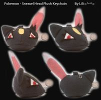 Sneasel Head Plush Keychain by LiliNeko