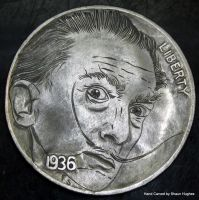 Salvidor Dali Hobo Nickel by Shaun Hughes by shaun750