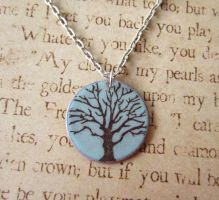 Tree of Life Blue Hand Torched Enamel Necklace by FusedElegance