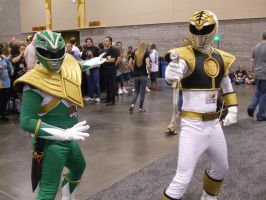 Green and White Rangers by gear25