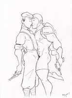 Gangster And Space Man Kiss by BevisMusson