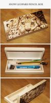 Pyrography: Snow Leopard pencil box by BumbleBeeFairy