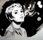 Jean Seberg ink by AaronNSN