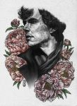Sherlock with Peonies by SecondGoddess