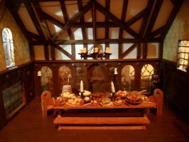 Medieval Banquet Hall by kayanah