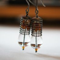 floating gem caged earrings by CrysallisCreations