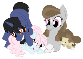 Filly Nooby with her family by PrincessNoob