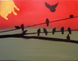 Birds on a wire by TheStreetCanvas