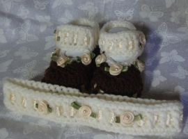 Blooming Booties-Cream and Brown by Crochet-by-Clarissa