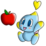 Chao and an apple by baron-von-jiggly