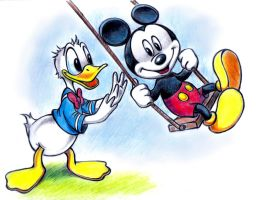 Mickey Mouse and  Donald Duck by zdrer456