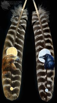 Golden eagle and Raven feather by Nambroth