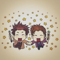 Doctor Who Chibi: Eleven and Ten by nokeek