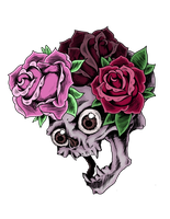Skull and Roses by Little-Bluefish
