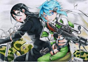 GGO - Kirito and Sinon by SarahUsagi-chan