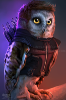The Owlvengers - Hawkeye owl by 4steex