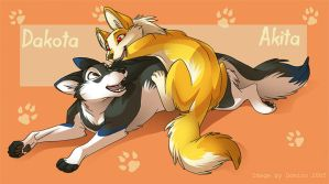 Akita and Dakota by Domi-Chan