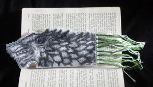 Stark Direwolf cross stitch bookmark by black-lupin