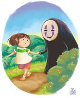 Chihiro and No-Face by MalayaTerrenal