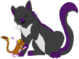 Kitty Cat + Kangaroo Rat Love by boxes-of-foxxes