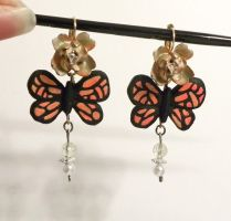 Polymer Clay Butterfly Earrings by Sugar-Bolt