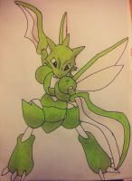 Scyther Drawing by Krayzieee