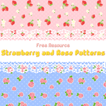 strawberry and rose patterns by inano2009