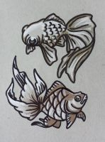 Gold Fishies by starbuxx