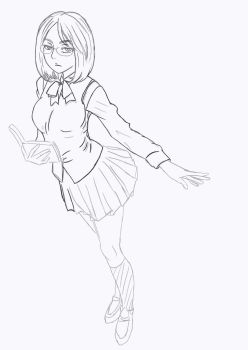 School Girl(Sketch) by Hyoizaburo