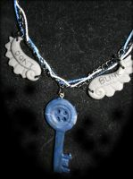 TARDIS Button Key Necklace by souffle-etc