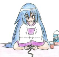 A Girl and her PS2 by Sanone