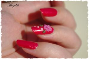 Nail Art flower in acrylic 3d by Angelik23