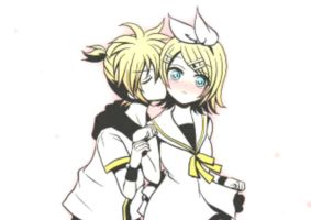 Kiss Kiss Rin and Len by m4r1lmoxa