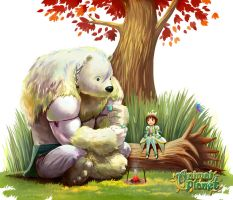 bear and beetle by chalii