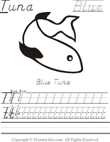 Mommysbiz | T-Tuna-Blue Preschool Worksheet by DanaHaynes