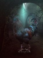 Night rooster by SPRSPRsDigitalArt