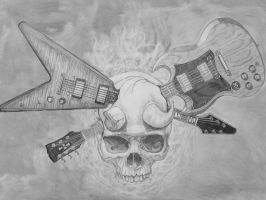 skull crossed guitars by churchyx