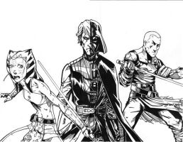SW Vader and apprentices ink by lroyburch