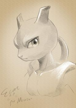 Pencil brush practicing of Mewtwo by elyoncat