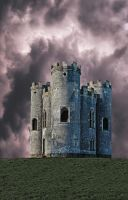 Castle 1 with dark red sky Premade AStoKo by AStoKo