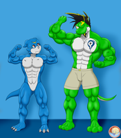 Muscles show - Veemon-Yetshi by AniaDawson